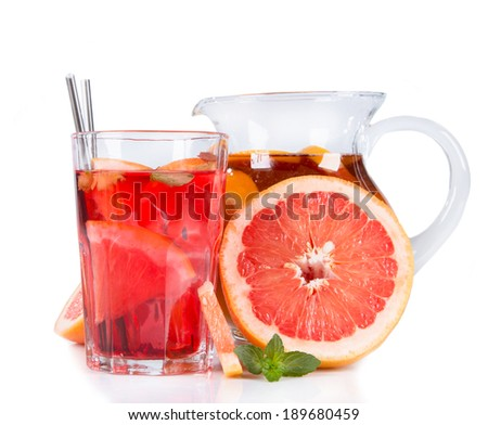 Grapefruits, slice and mint ice tea isolated on white background. Summer concept. Refresh drink.