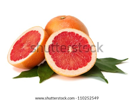 grapefruits with leafs over white background