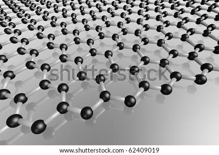 Grapene carbon monolayer. The discovery of graphene results in a Nobel prize for Andre Geim and Konstantin Novoselov in 2010 - stock photo