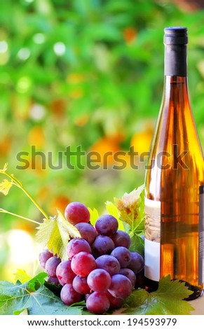 Grapes and wine bottle - stock photo