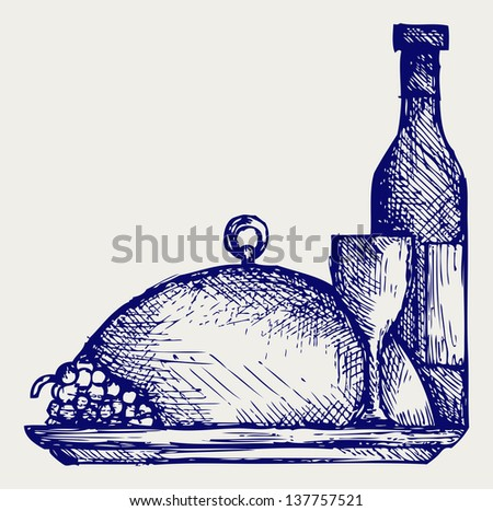Grapes, bottles and glasses of wine on round tray. Doodle style. Raster version - stock photo