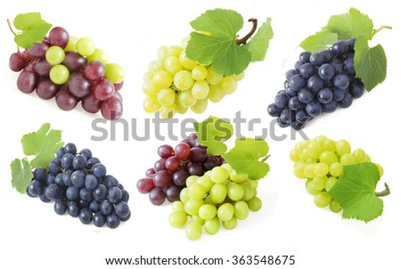 Grapes branch set isolated on white background - stock photo