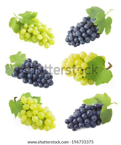 Grapes branches isolated on white - stock photo