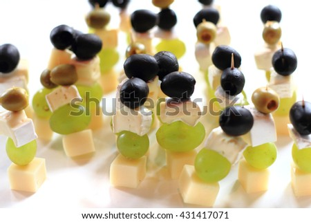 grapes, cheese, grape as nice food background - stock photo