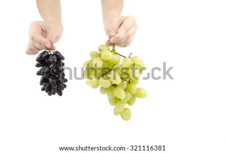 grapes in hands on a white background - stock photo