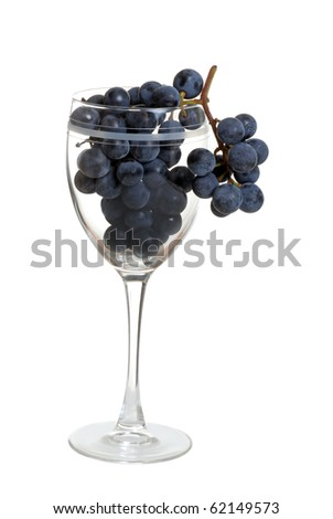 grapes in wine glass - stock photo
