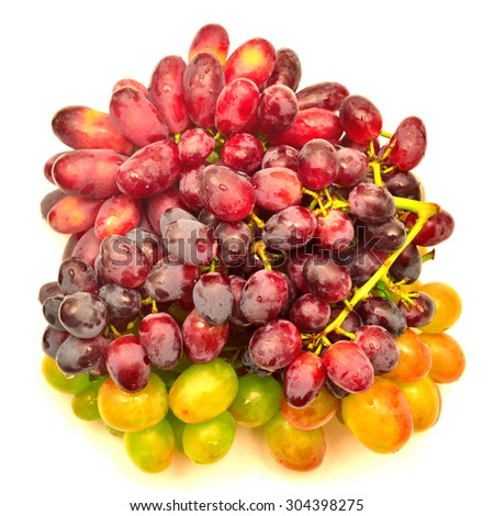 Grapes of different varieties isolated on white background - stock photo
