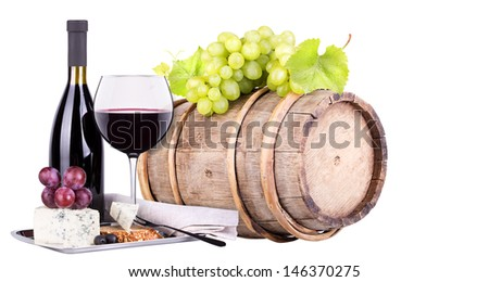 grapes on a barrel with corkscrew, wine glass and cheese  isolated on a white background - stock photo