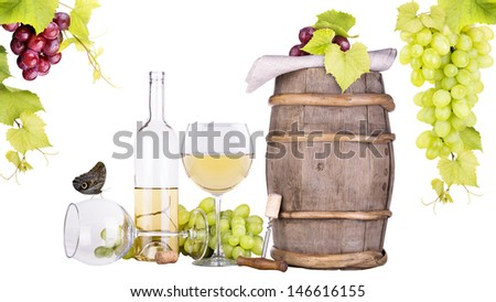 grapes on a wooden vintage barrel with corkscrew and wine glass isolated on a white background