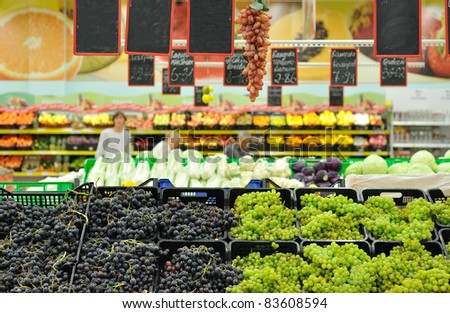 grapes on the counter in the market - stock photo