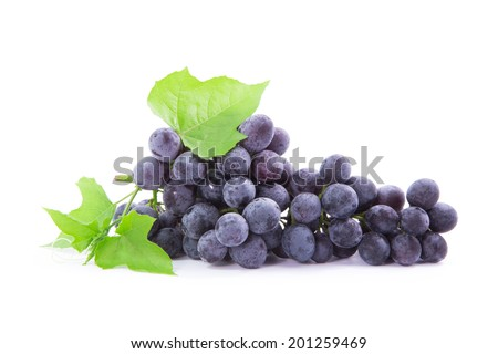grapes with leaves, Isolated on white background - stock photo