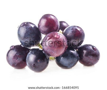 Grapes with water drops. Isolated on white background, closeup - stock photo