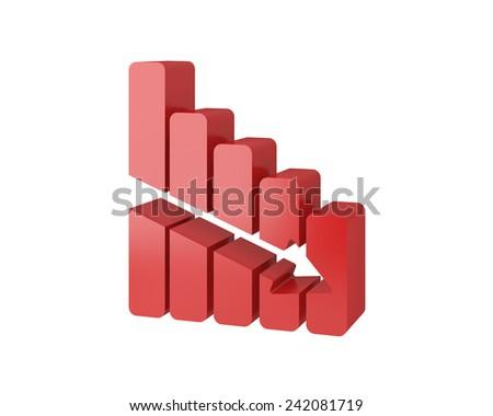 graph chart 3d icon - stock photo