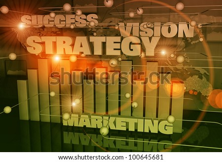 Graph chart with business words - stock photo