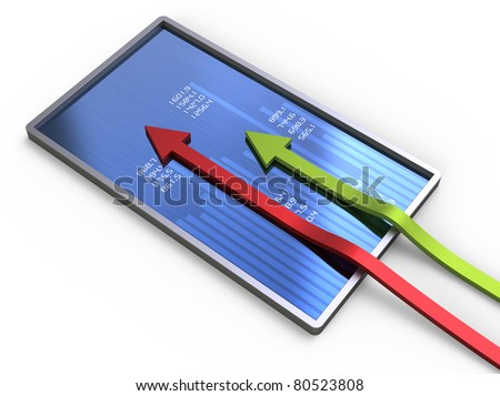 Graph chart with two arrows - stock photo