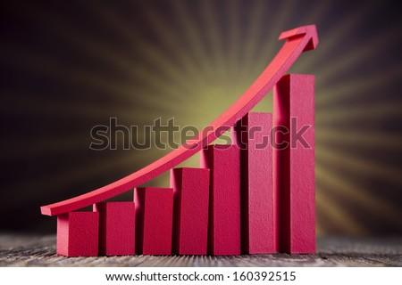 Graph diagram and sunshine - stock photo