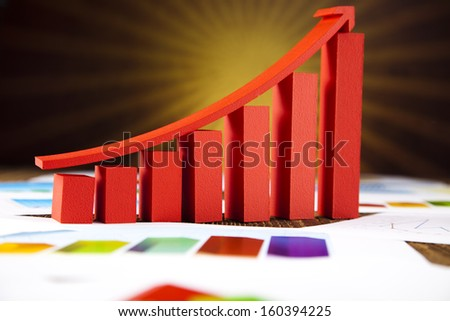 Graph diagram and sunshine - stock photo