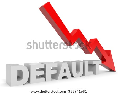 Graph down default arrow. 3D illustration. - stock photo