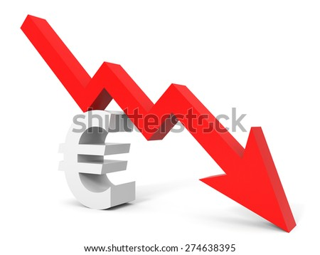 Graph down euro sign arrow. 3D illustration. - stock photo