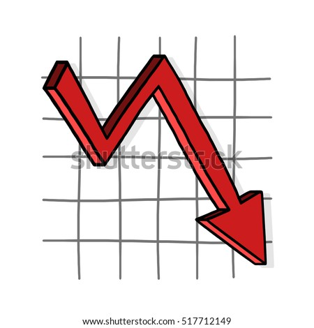 Graph down illustration; Downward trend; Business graph