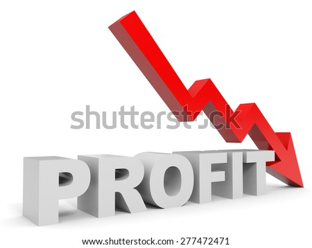Graph down profit arrow. 3D illustration. - stock photo