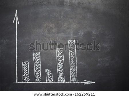 graph drawn in chalk on a school blackboard - stock photo