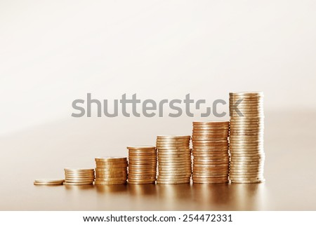 Graph from coins - stock photo