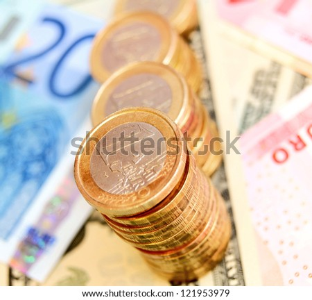 Graph from coins on money (euro). - stock photo