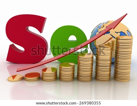"Graph from coins with arrow and text 'SEO', with globe instead of letter ""o"". 3d render illustration on white background. - stock photo"