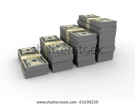 Graph from us dollars on white background - stock photo