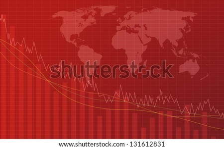 Graph going down and world map in background - stock photo