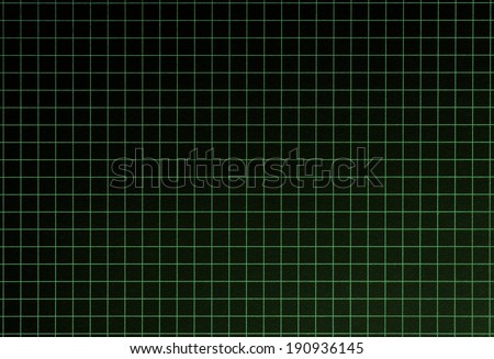Graph grid, black surface with green lines. Shot square to image dimension  - stock photo