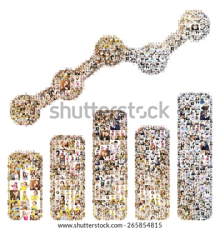 Graph icon. Formed out of peoples photography. Isolated - stock photo