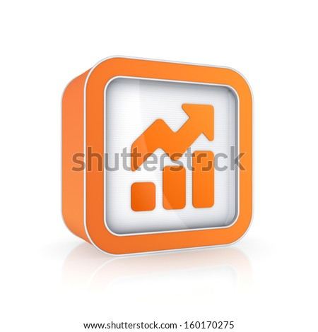 Graph icon.Isolated on white.3d rendered. - stock photo