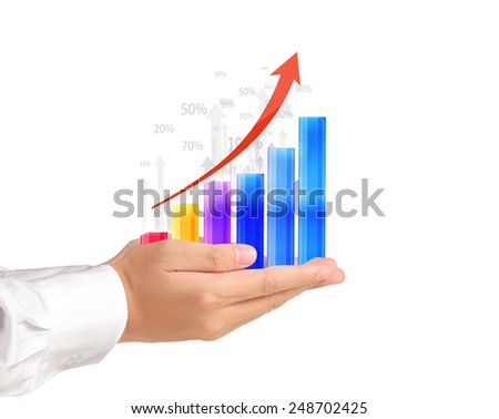 Graph in the hand, businessmen  - stock photo