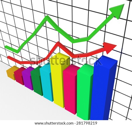Graph Increasing Showing Advance Growth And Lucrative - stock photo