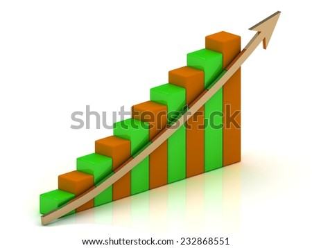 Graph incurance growth and gold arrows