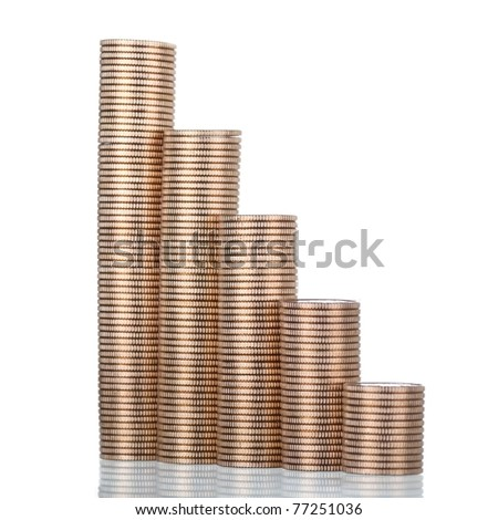 Graph made of golden coins - stock photo