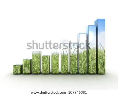 Graph made of green grass and blue sky - stock photo