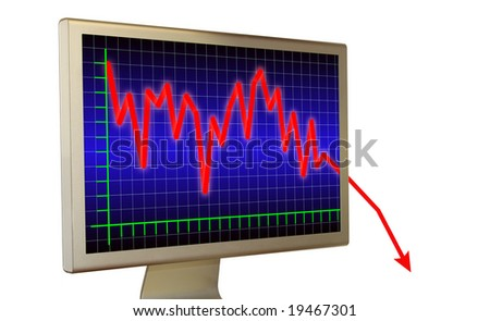 Graph of crisis on real monitor - stock photo