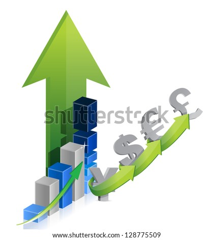 graph of currency: dollar, euro, pound, yen illustration design over a white background - stock photo