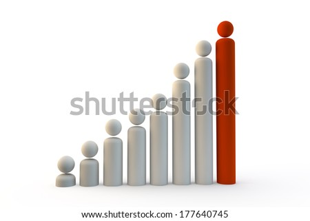 graph of different people getting bigger or larger - stock photo