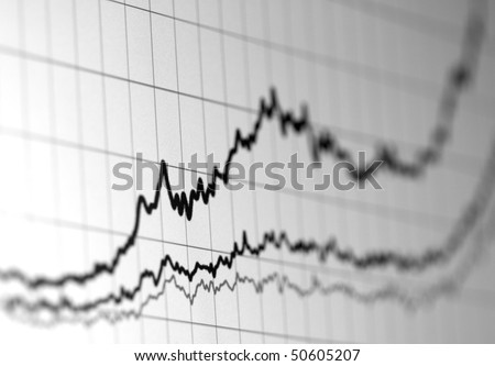 Graph of financial data on a computer monitor showing increasing value. Shallow depth of field
