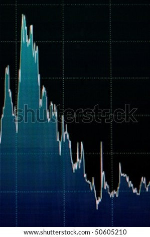 Graph of financial data on a computer monitor showing prices reducing from a peak - stock photo