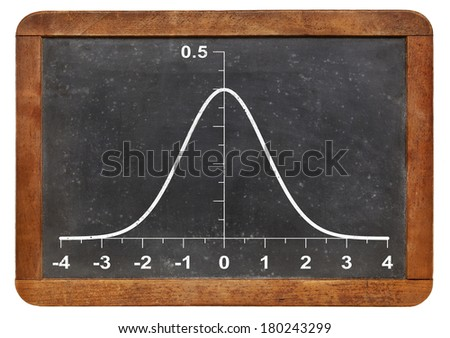 graph of Gaussian (bell) function l on a vintage blackboard - statistical concept - stock photo