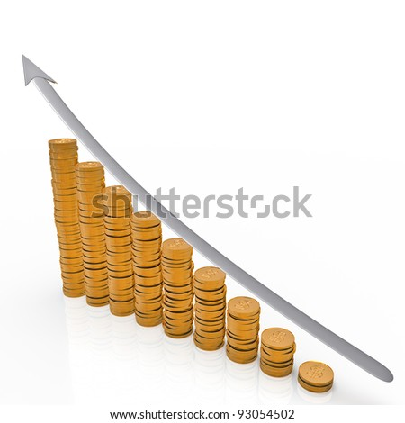 graph of gold coins. Isolated on white background