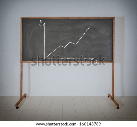 Graph of growth of money on a black school board - stock photo