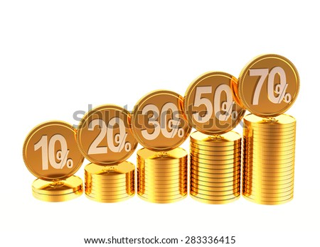 Graph of stacks of golden coins with various percent discount isolated on white background