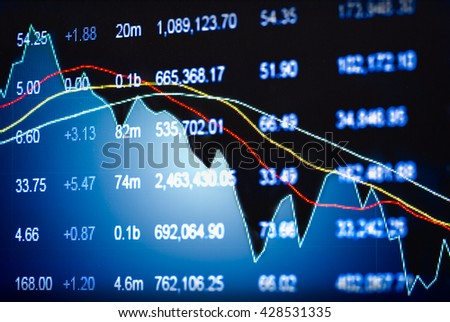 Graph of stock market data and financial with the view from LED display concept that suitable for background,backdrop including stock education or marketing analysis.