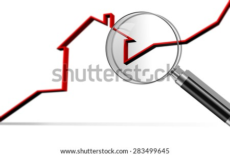 graph of the housing market made in 3d software - stock photo
